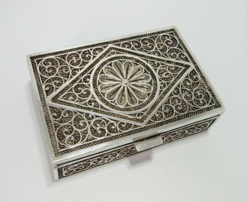 Antique Indian Silver Filigree Hinged Box