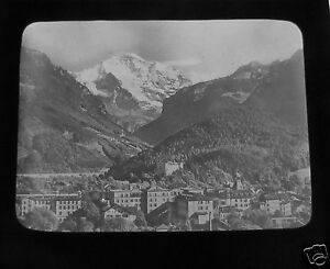 Glass-Magic-lantern-slide-INTERLAKEN-C1890-SWITZERLAND