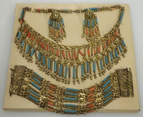 Vintage Egyptian Revival Faience Pottery Coral Necklace Bracelet Earring Parure