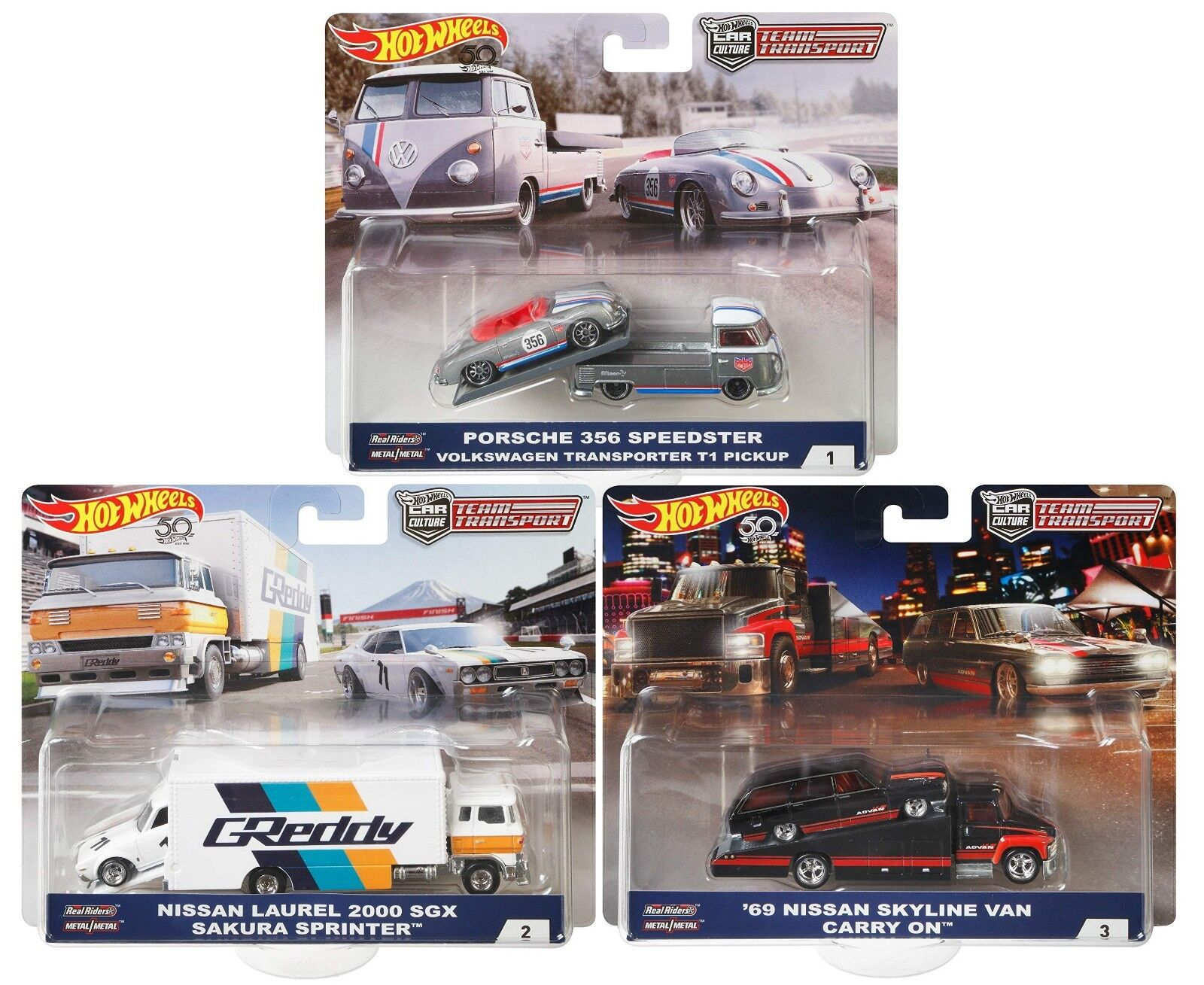 2018 Hot Wheels 50th Anniversary Car Culture Team Transport Set of 3 1/64 Scale