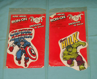 vintage THE INCREDIBLE HULK & CAPTAIN AMERICA IRON-ON PATCH LOT MIP sealed