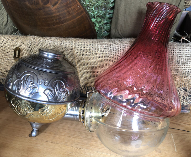 PERIOD CRANBERRY Ruby SWIRL Shade Brass ANGLE OIL LAMP