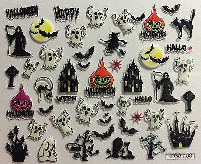 Halloween Bats Nail Art (Nail Art 3D Decal Stickers Halloween Ghost Haunted Mansion Reaper Bats)