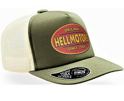 Trucker Olive (Hellmotors Retro Trucker Cap Basecap Hotrod Oldschool Biker V8 Kappe Oliv Herren)