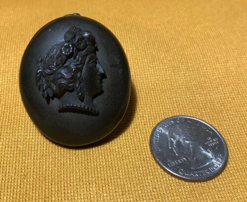 Antique Victorian Gutta Percha Locket Pendant Cameo Motif (L1031)