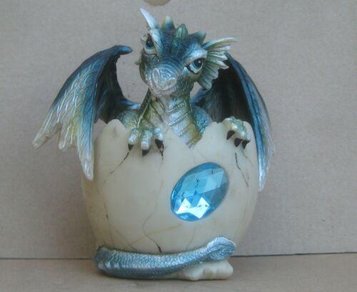 March Birthstone Dragon Egg Statue Aquamarine Blue Gem Birthday Dragon Hatchling