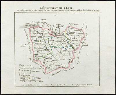 1802 - Antique Map Department Eure of Chanlaire. France