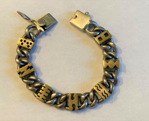 """Vtg Sterling Silver 925 Handmade 71/4"""" Heavy Duty Chain Link Bracelet 67G Signed"""