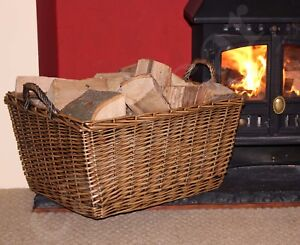 Large Wicker Log Basket Storage Carrying Firewood Fireplace Toy Store Heavy Duty