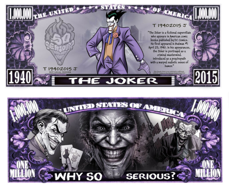 Joker of Batman Comic Million Dollar Bill Funny Money Novelty Note + FREE SLEEVE