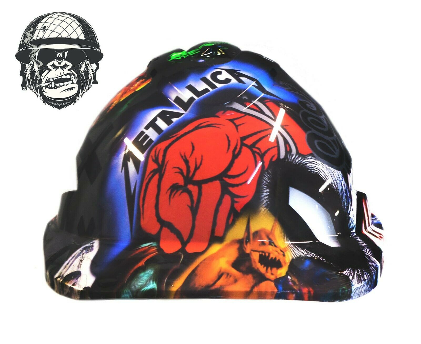 Custom Hydrographic Safety Hard Hat Mining Industrial band music - ST. ANGER CAP