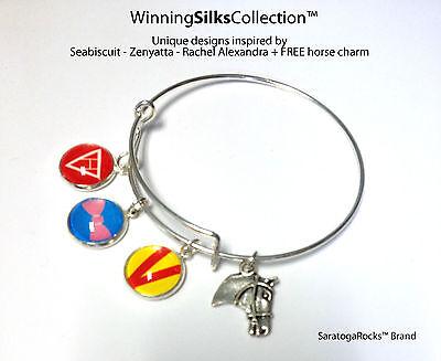 WinningSilks™ bracelet - Seabiscuit-Zenyatta-Rachel Alexandra + FREE Horse
