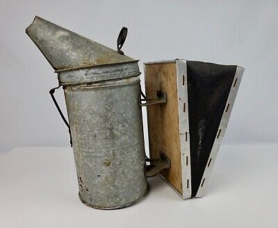 Vintage Bee Smoker Leather Bellows Root Company Medina Ohio Works Perfectly