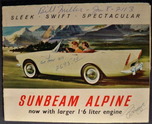 1962-1963 Sunbeam Alpine Roadster Small Brochure Folder 1.6 Liter Original