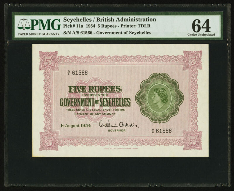 Seychelles Government of Seychelles 5 Rupees 1.8.1954 Pick 11a PMG 64 Choice UNC