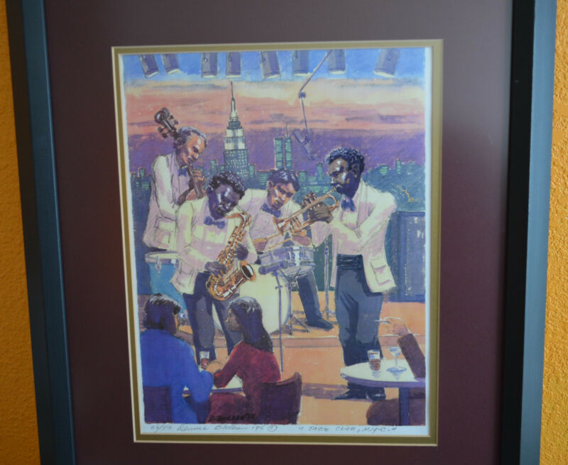 Dennis Boilean Jazz Club, N.Y.C. 1995 Signed Ltd Ed Water Color Print Ship Free