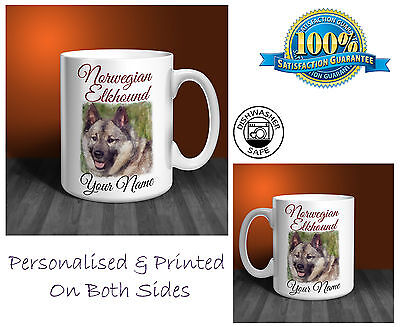 Norwegian Elkhound Personalised Ceramic Mug: Perfect Gift. (D266)