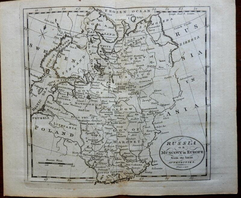 Russia in Europe Muscovy Novgorod Perm c. 1796 McIntyre engraved map