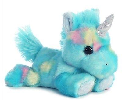 "Aurora Blueberryripple BLUE UNICORN 7"" Plush Stuffed Animal"