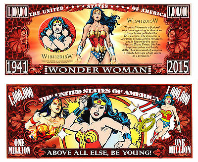 Wonder Woman Million Dollar Bill Fake Play Funny Money Novelty Note +FREE SLEEVE