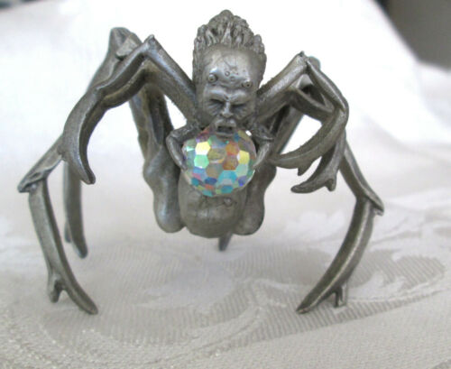 Pewter Spider with Creepy Face Crystal Ball Figurine