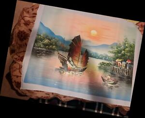 2 Oil Painting of Boats (Asian)