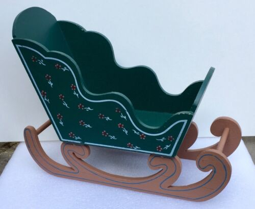 Vintage Wooden Country Christmas Santa Claus Sleigh Sled Tabletop / Mantel Decor