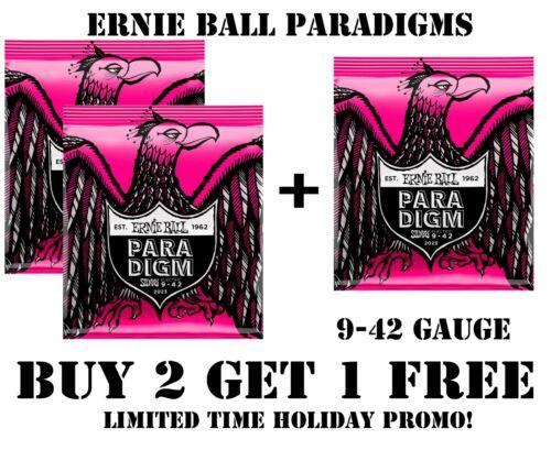 **3 SETS ERNIE BALL PARADIGM 2023 SUPER SLINKY ELECTRIC GUITAR STRINGS (9-42)**