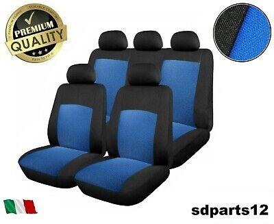 Fiat Lancia Audi Coprisedili Blu Set di Fodere Tessuto Nero e Blu