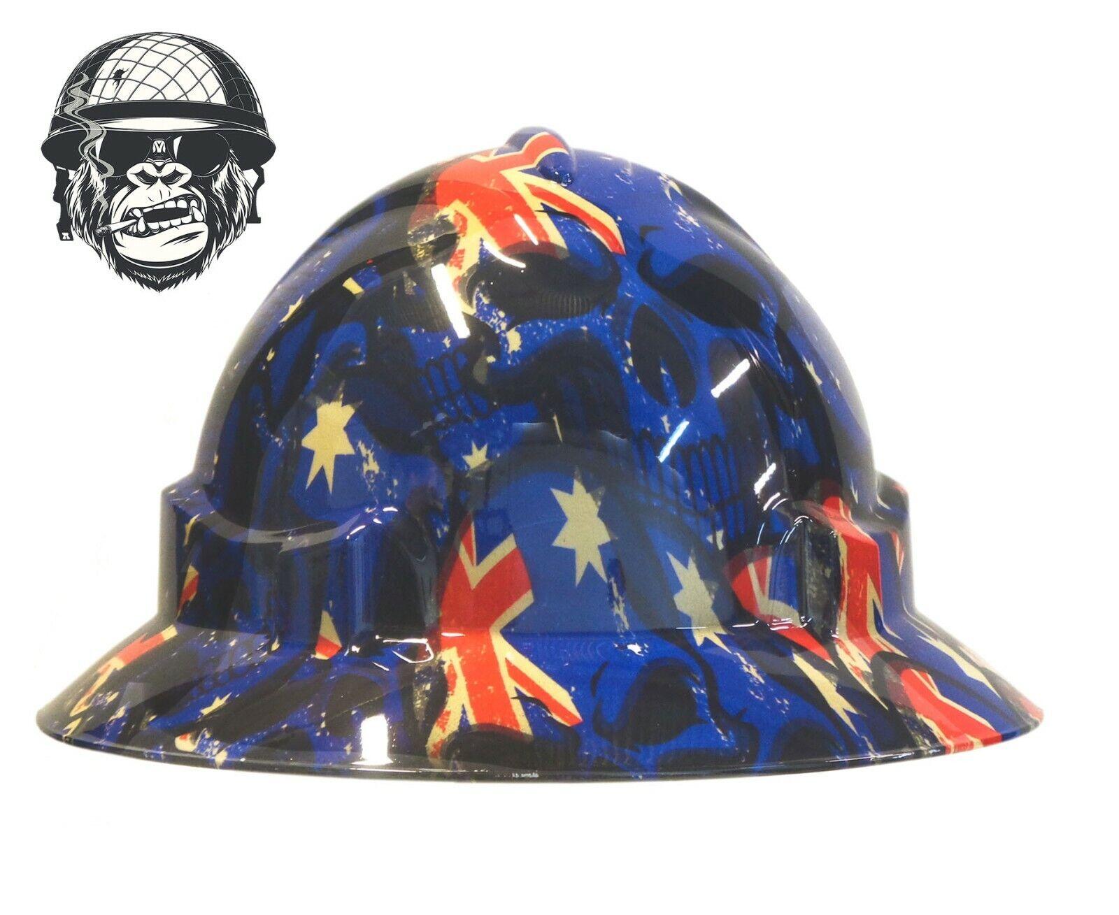 Custom Hydrographic Wide Brim Safety Hard Hat Skulls AUSSIE TO THE CORE WIDE