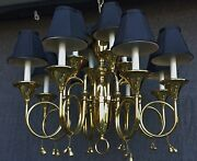 Brass Horn Chandelier