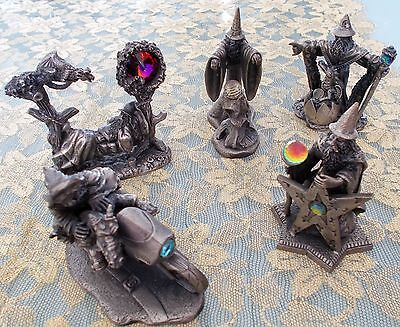 WAPW PEWTER & CRYSTAL FIGURINES ~ SET OF 5 ~ WIZARDS ~ EXCELLENT CONDITION