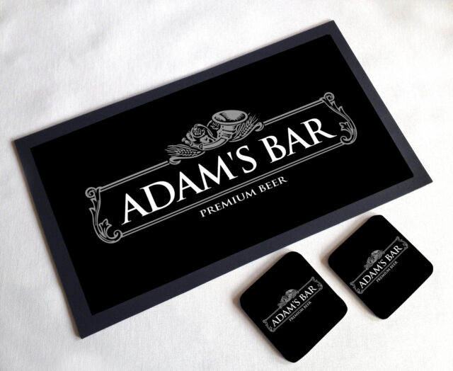 Personalised Silver Beer Label Home Bar Gift Set Bar Runner 2 ...