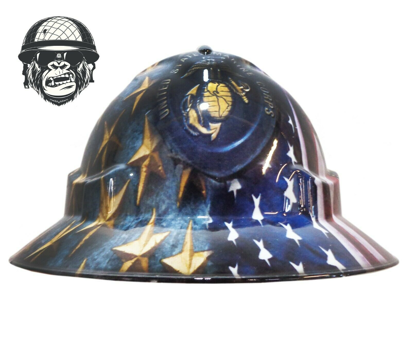 Custom Hydrographic Wide Brim Safety Hard Hat Mining US MARINE CORPS WIDE