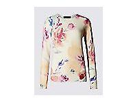 Women's M & S Pure Cashmere Floral Jumper Size 18