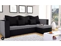 Corner sofa bed Mojito grey and black
