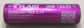 2200mAh Cylaid 25A 18650 batteries (vape mod or torch) - Pair in carry box