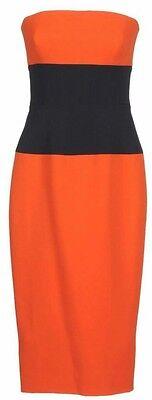 VICTORIA BECKHAM Orange Navy Strapless Wool Silk Bustier Corset Dress 4 6