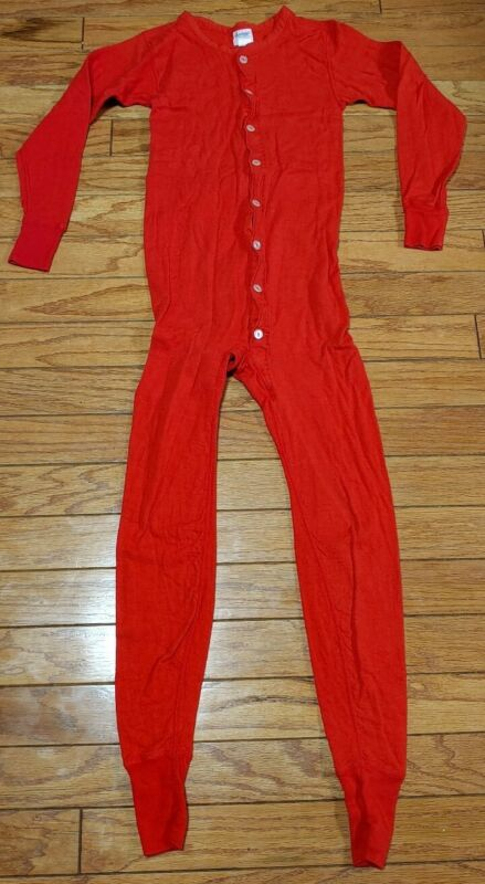 Vintage Duofold Two Layer Red Union Suit Thermal Underwear Sz S