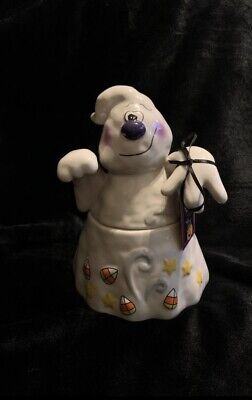 Halloween 2020 BLUE SKY CLAY WORKS Ghost COOKIE JAR by Artist Heather Goldminc
