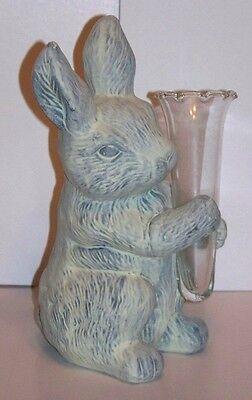 Terra Cotta Bunny with Glass Vase NIB