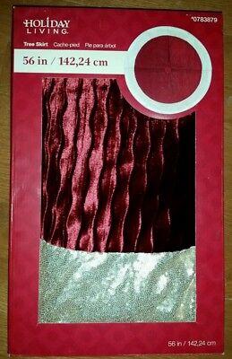 """NEW 56"""" Deep Red Maroon Gold Velvet Glitter Tree Skirt NWT - FREE SHIPPING"""