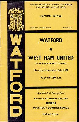1967/68 WATFORD V WEST HAM UNITED 06-11-1967 Dave Carr Benefit Match