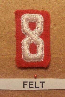 Felt Number - BSA RED FELT TROOP UNIT NUMBER 8 -(VERY GOOD CONDITION) GAUZE BACK 1927~52 FB013