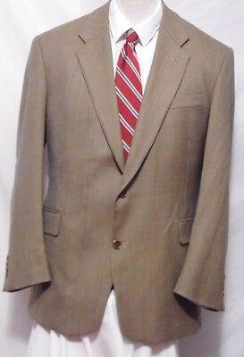 evan picone tan vintage wool 3 button plaid sport coat size 46r