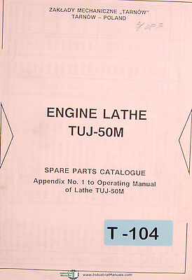 Toolmex Tarnow Tuj-50m Polamco Lathe Operating Appendix Spare Parts Manual