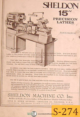 Sheldon 15 Lathe Parts Manual