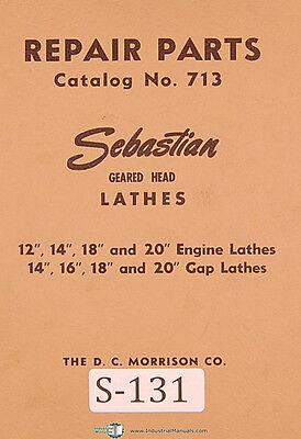 Sebastian 12 14 18 20 Engine And Gap Lathe Repair Parts List Manual