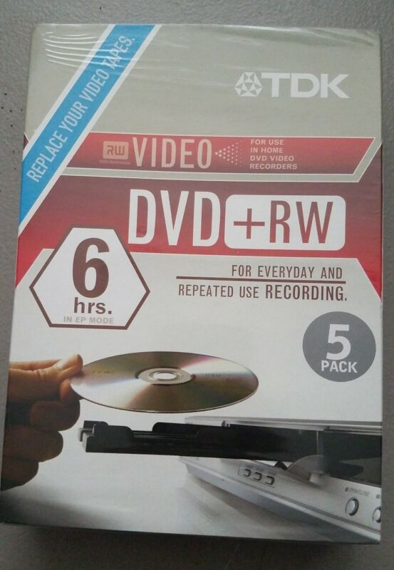 TDK DVD+RW 4X 4.7GB Home Video Recording ReWriteable DVD 5-Pack - New Sealed