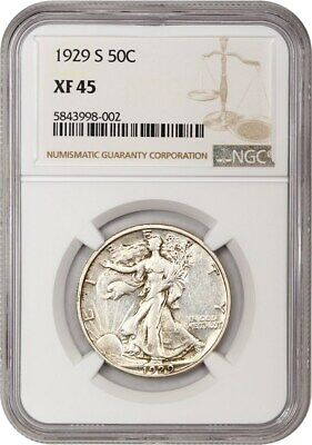 1929-S 50c NGC XF45 - Scarce Early Walker - Walking Liberty Half Dollar